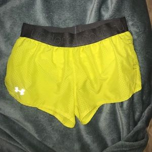 Under Armour neon running shorts